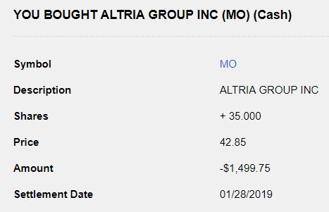 Altria Stock Purchase