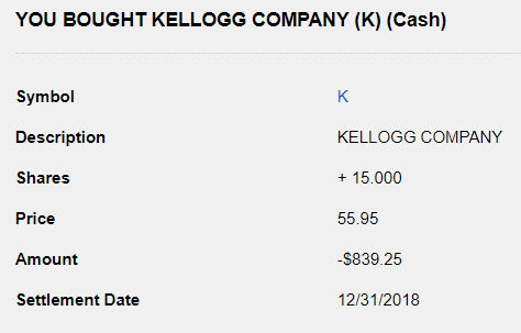 Kellogg Stock Purchase