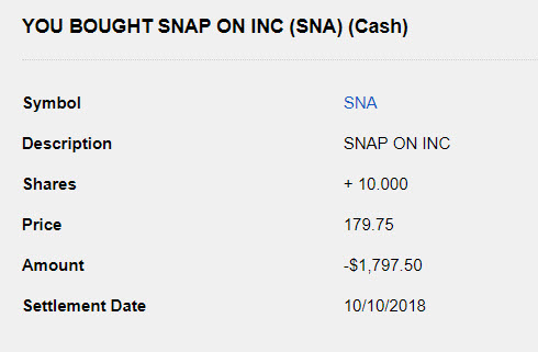 Snap-on Stock Purchase