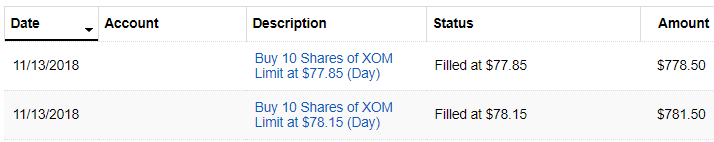 XOM Stock Purchase